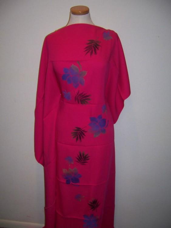 Designer Coordinate Fabrics Hand Painted Flowers On Fuschia Pink