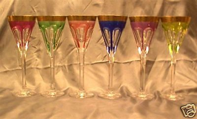 24 PCS MOSER CRYSTAL LADY HAMILTON GLASSES SET 6 COLOR GILDED ACID ETCHED  BORDER